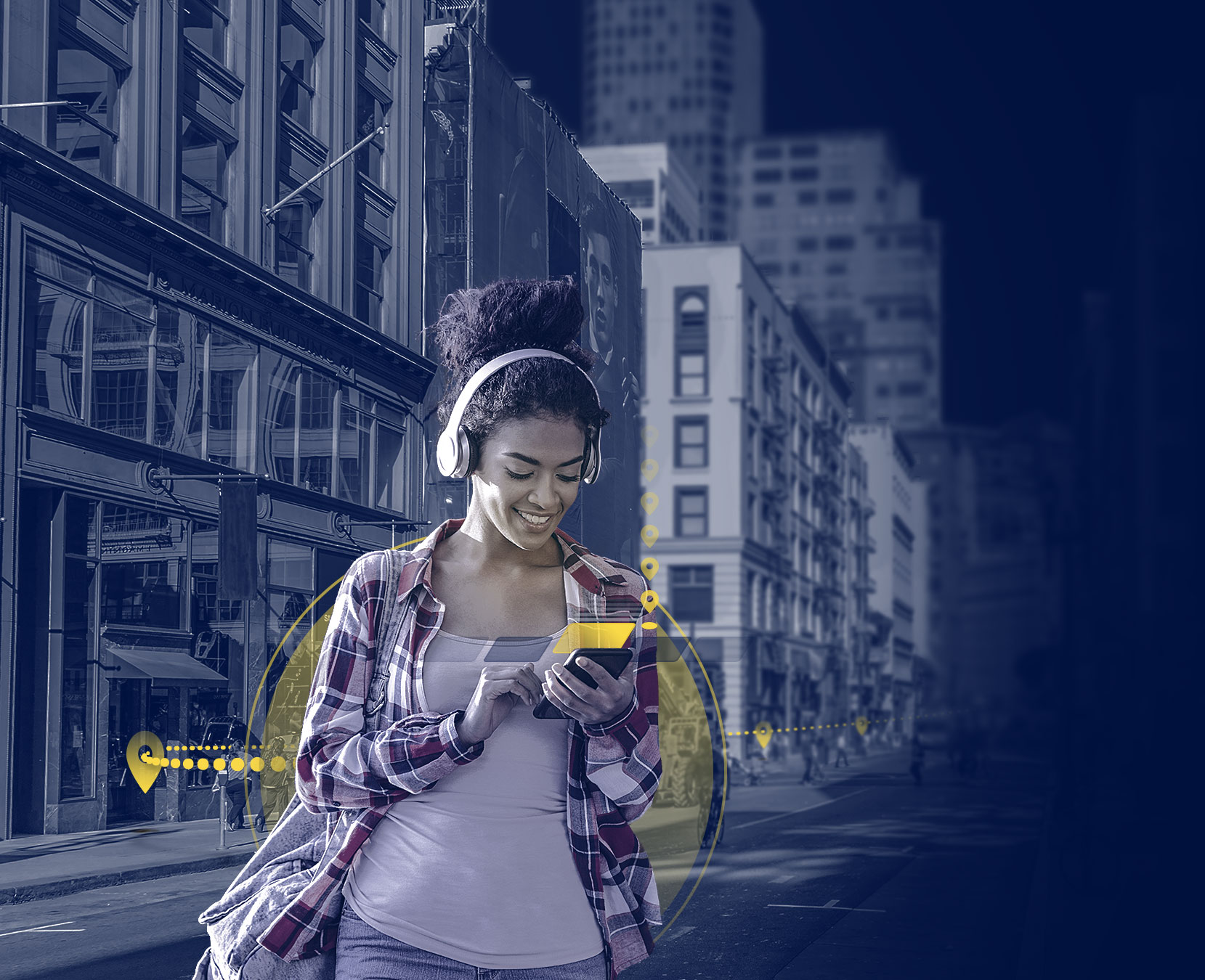 Girl looking at her phone while walking through the city with yellow pinpoints