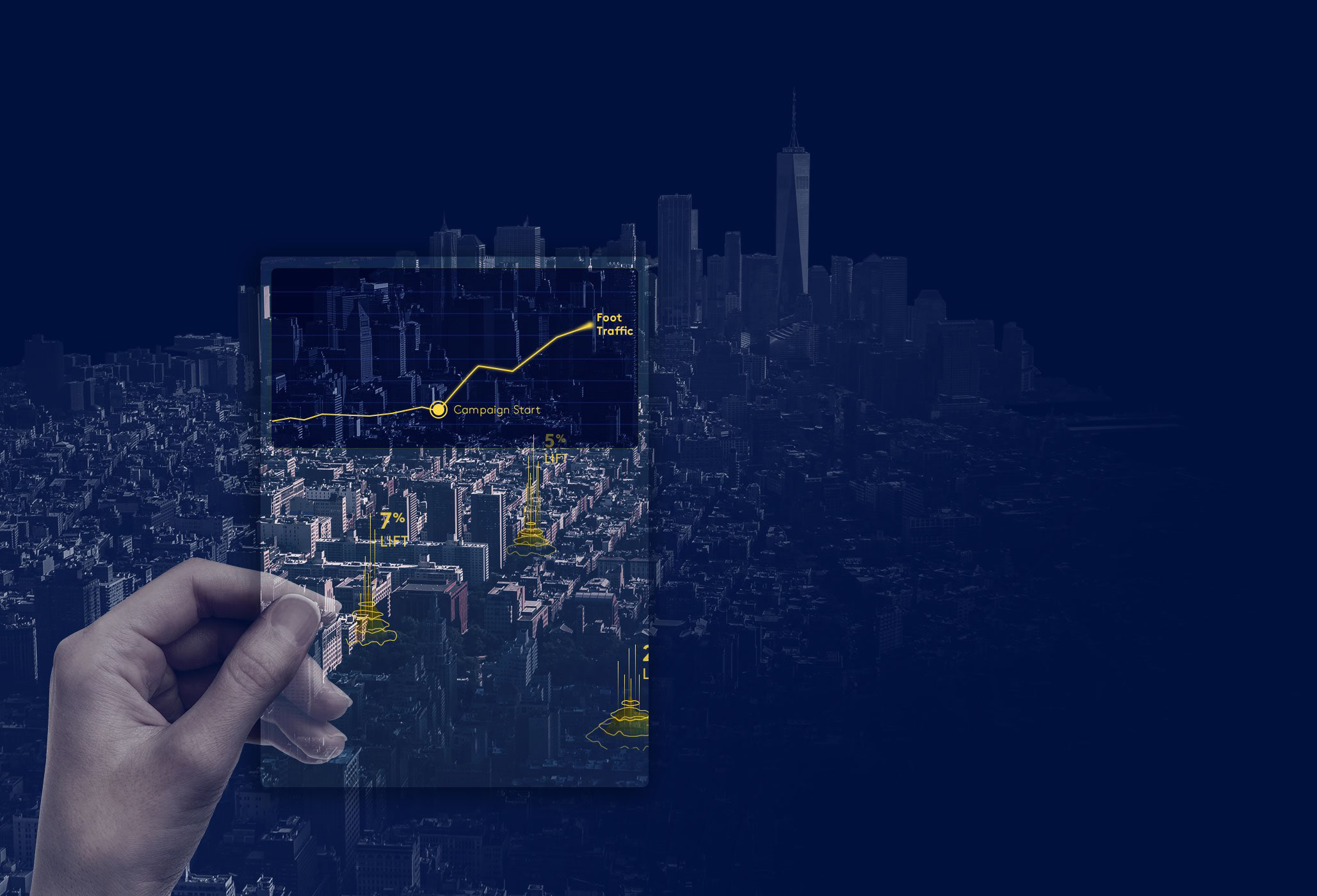 A hand holding a map of New York City with a graph showing increasing foot traffic
