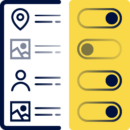Toggles next to categories, location, photos, user description